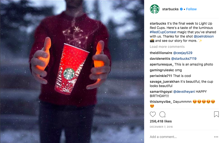 Example of User-Generated Photos for Starbucks Git Card Campaign